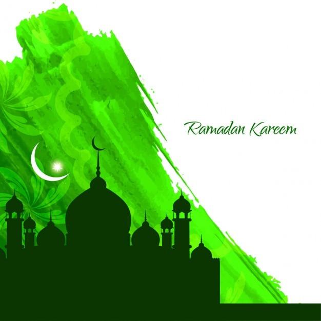 Latar belakang ramadan cat air hijau Vektor Gratis