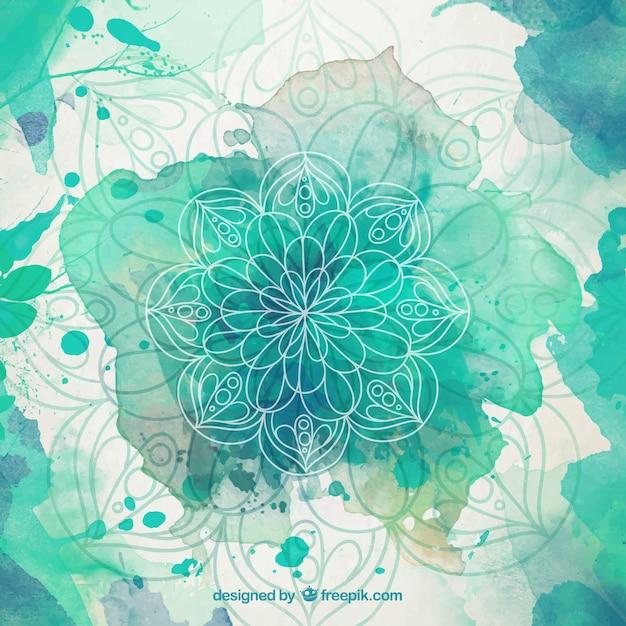 Green watercolor splashes mandala background Premium Vector