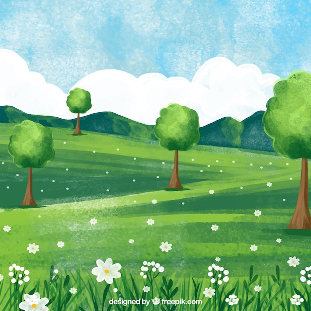 Green watercolor spring landscape Free Vector