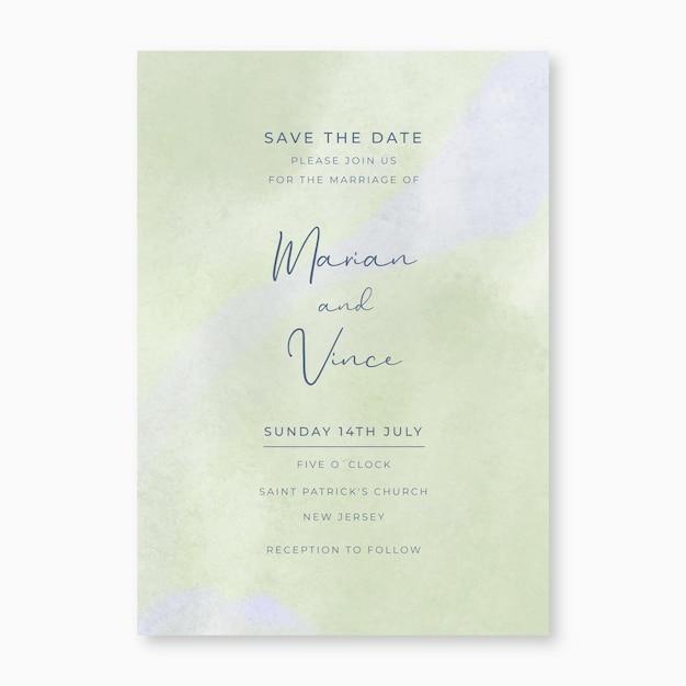 Invito a nozze acquerello verde Vettore gratuito