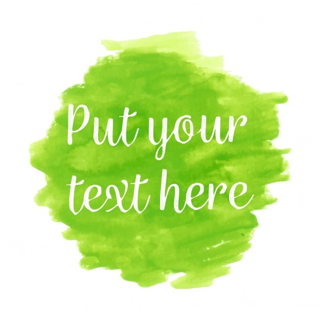 green watercolor with text template vector free download