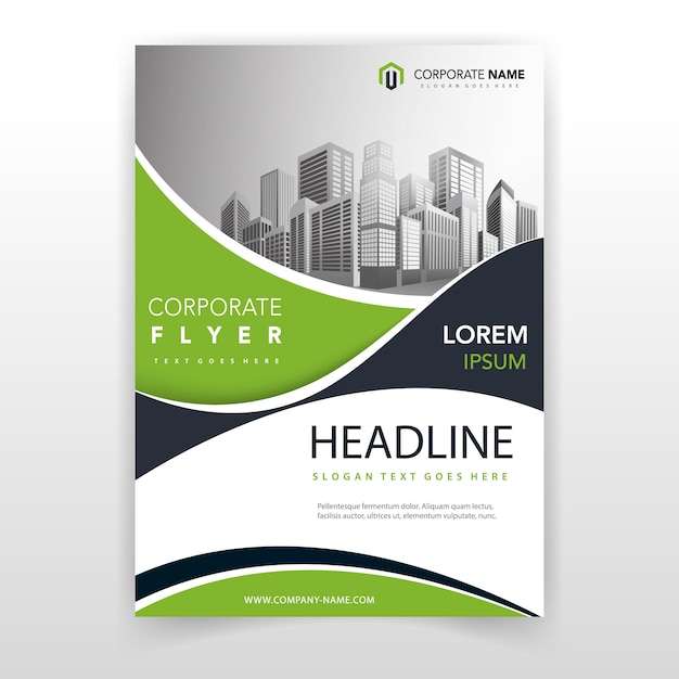 Green wave cover annual report template Free Vector