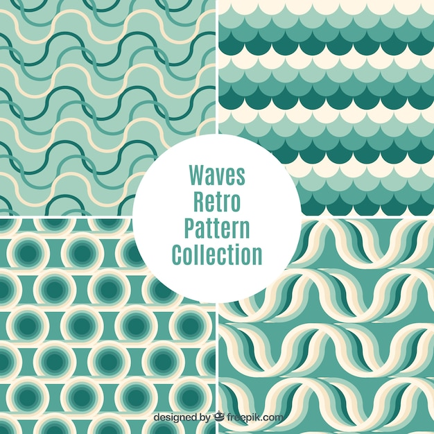 Green waves patterns set Free Vector