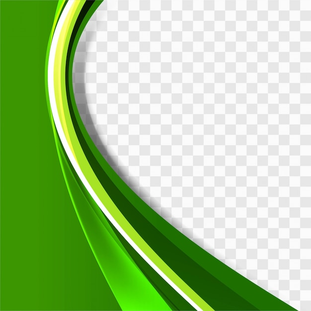 green wavy background template vector free download