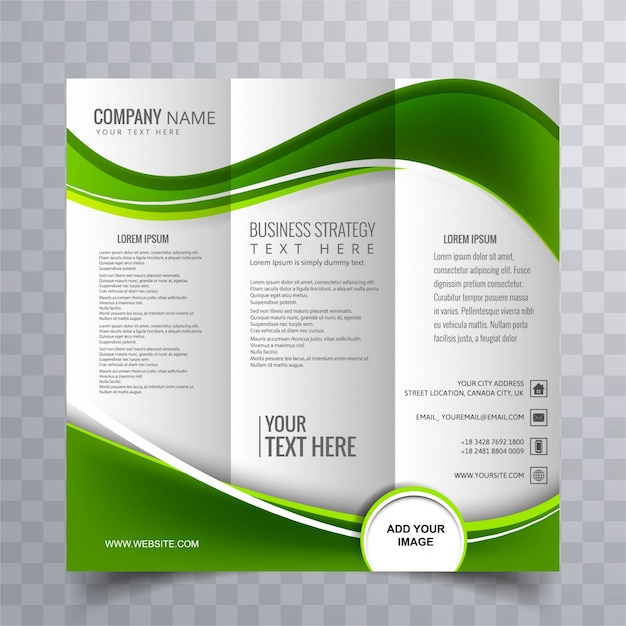Green wavy business brochure template vector free download for Free brochure layout template