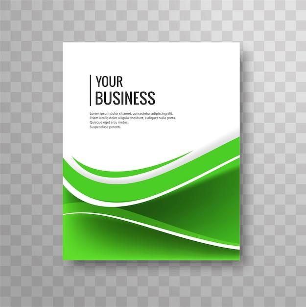 Green wavy business brochure