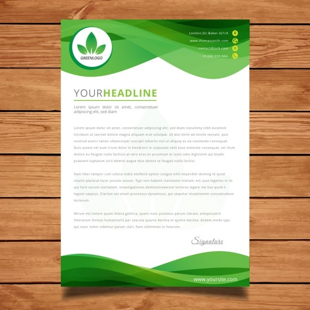 Marvelous Green Wavy Letter Template Free Vector  Ms Word Cover Page Templates Free Download