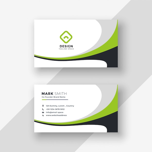 Green wavy professional business card design Free Vector
