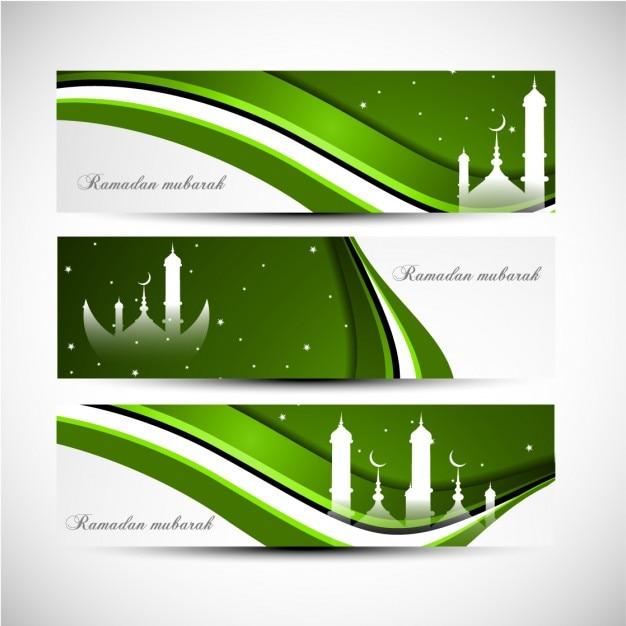 Green wavy Ramadan mubarak banners set Free Vector
