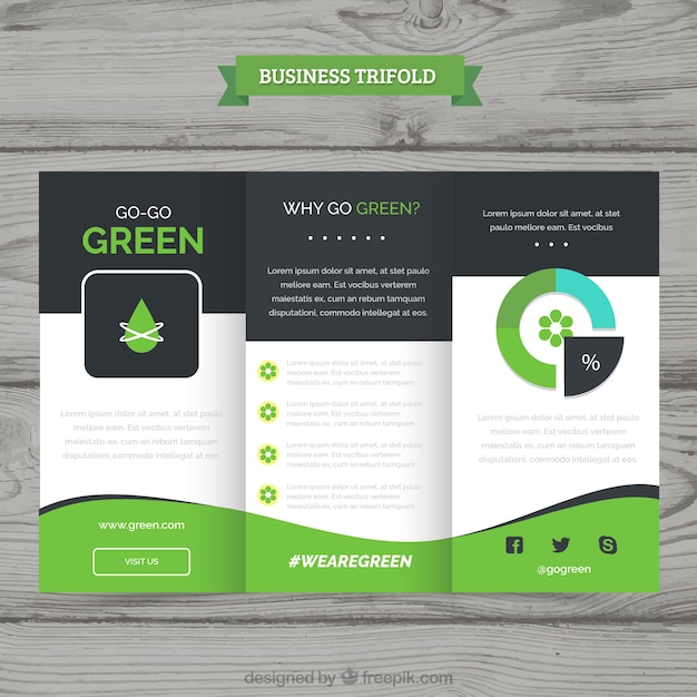 green wavy trifold business brochure vector free download