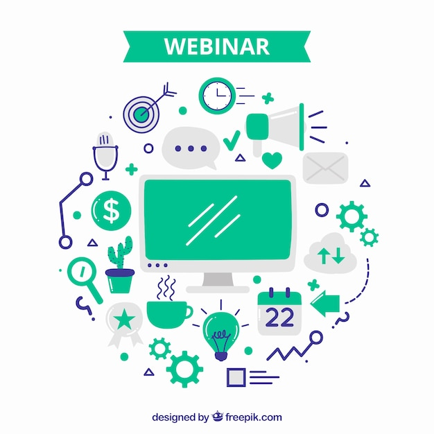 Green webinar design Free Vector