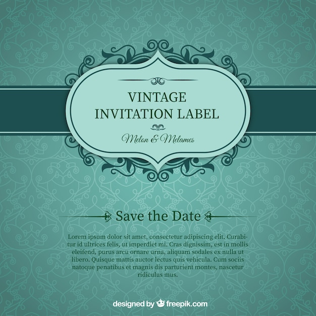 Green Wedding Invitation Card Free Vector