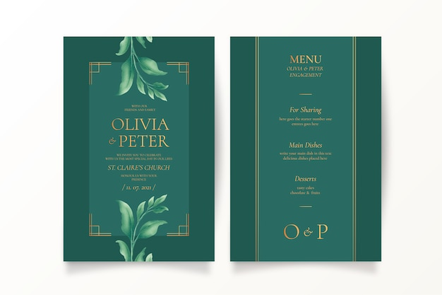 Green wedding invitation and menu template Free Vector
