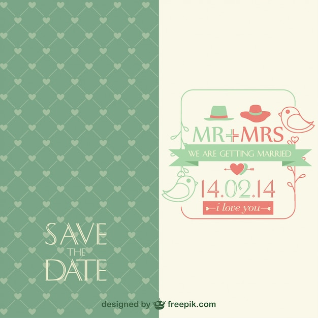 Green wedding invitation with little birds Free Vector