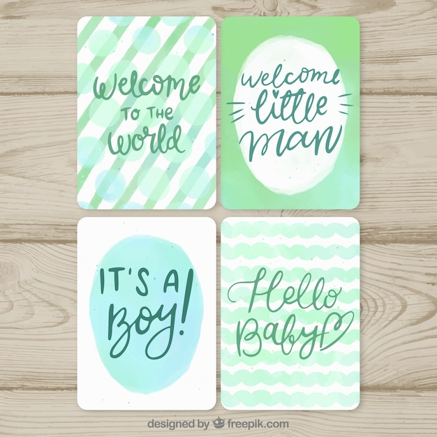 green welcome baby card templates vector free download