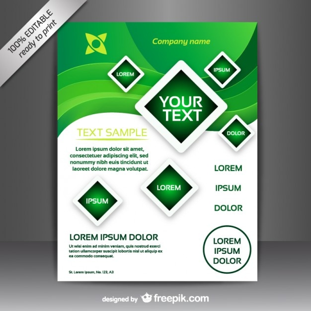 Green and white brochure template Vector | Free Download