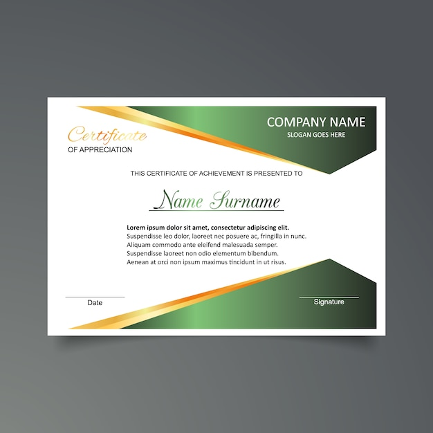 Green and white certificate of appreciation template ...