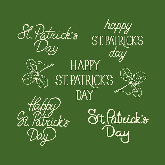 Green and white sketch composition postcard with many traditional elements around the text about st. patricks day decorated on the olive Free Vector