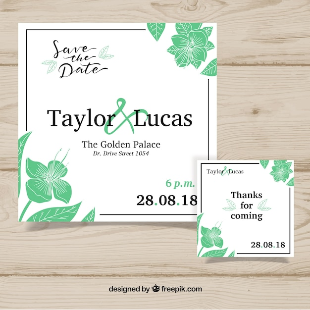 green and white wedding card  free vector