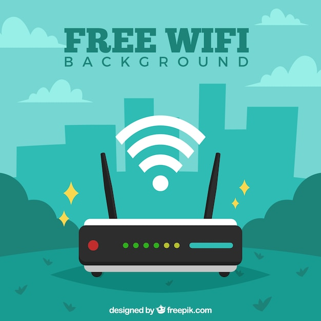 Green wifi background Free Vector