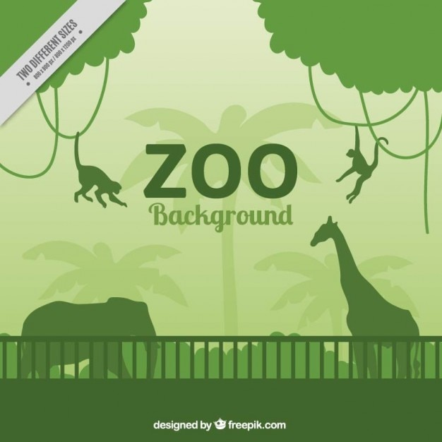 Green wild animals silhouettes in the zoo\ background
