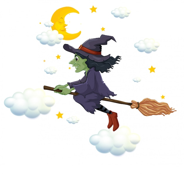 Green witch on flying broom at night Free Vector