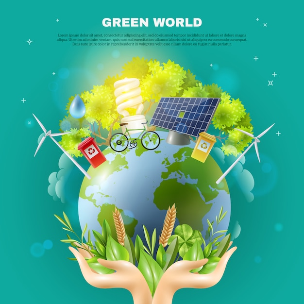 Green world ecology concept composition poster Free Vector