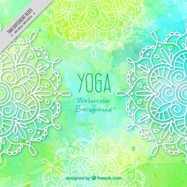 Green yoga background with ornamental\ mandalas