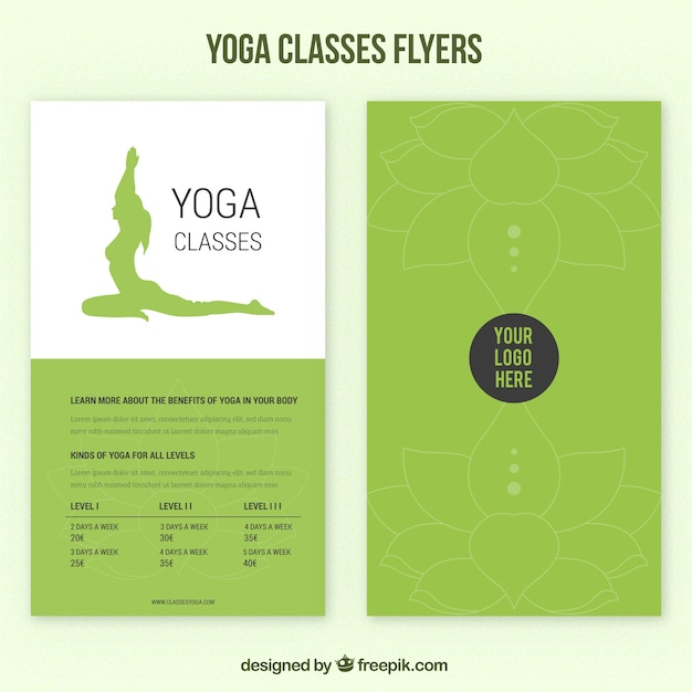 Green yoga classes flyers  Free Vector