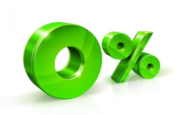 Зеленый ноль процентов или 0% Premium векторы