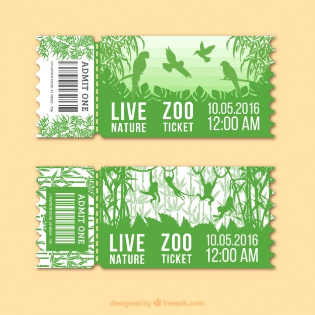 Green zoo tickets with birds and monkeys