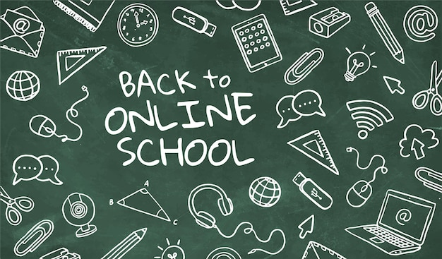 Greenboard back to online school with handrawn elements Free Vector