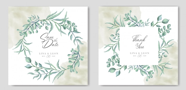 Greenery floral wedding invitation card Premium Vector