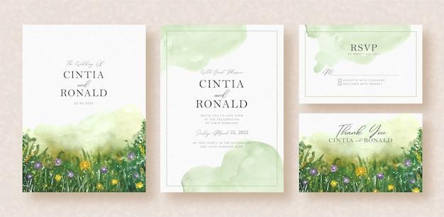 緑の花と庭の水彩画の背景の結婚式の招待状の葉 Premiumベクター