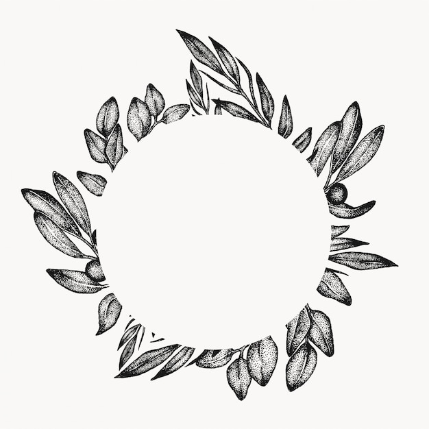 Greenery foliage leaf frame, graphic design element, isolated circle, floral botanical border. tropical composition. Premium Vector
