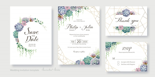 Greenery, succulent wedding invitation card, save the date, thank you, rsvp template. Premium Vector