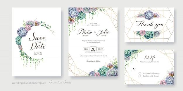 緑、多肉植物の結婚式の招待カード、日付を保存、ありがとう、rsvpテンプレート。 Premiumベクター
