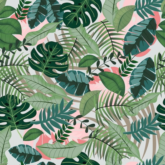 Greenery tropical jungle seamless pattern Premium Vector