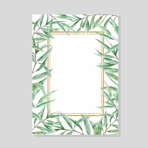 緑の水彩画の葉ゴールドフレーム、現実的なオリーブの木の枝のイラスト、手描き Premiumベクター