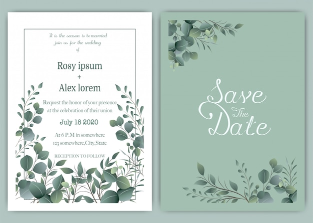 Greenery wedding invitation card template, eucalyptus Premium Vector