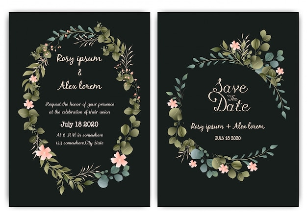 Greenery wedding invitation card template, eucalyptus Premium Vector