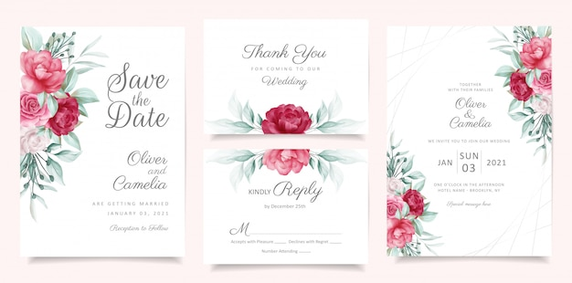 Greenery wedding invitation card template set with floral decoration Premium Vector