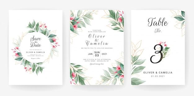 녹지 결혼식 초대 카드 템플릿 수채화 금으로 설정 나뭇잎 장식. 프리미엄 벡터
