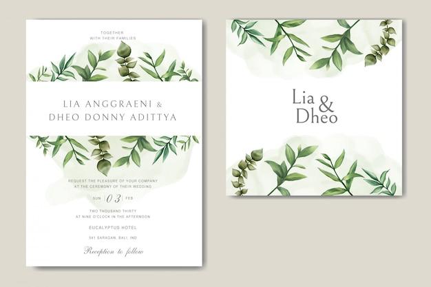 葉の束と緑の結婚式の招待カード Premiumベクター