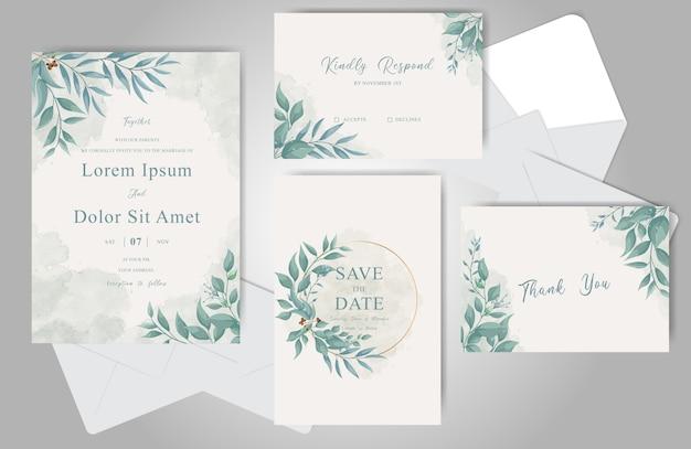 緑の結婚式の招待カードバンドルテンプレート Premiumベクター