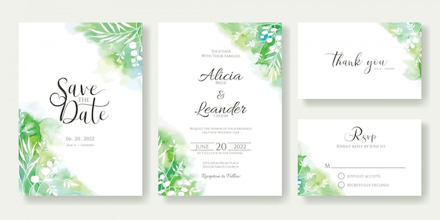 Greenery wedding invitation template. Premium Vector