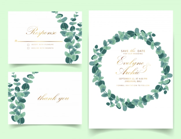 Greenery wedding invitation with eucalyptus leaves Premium Vector