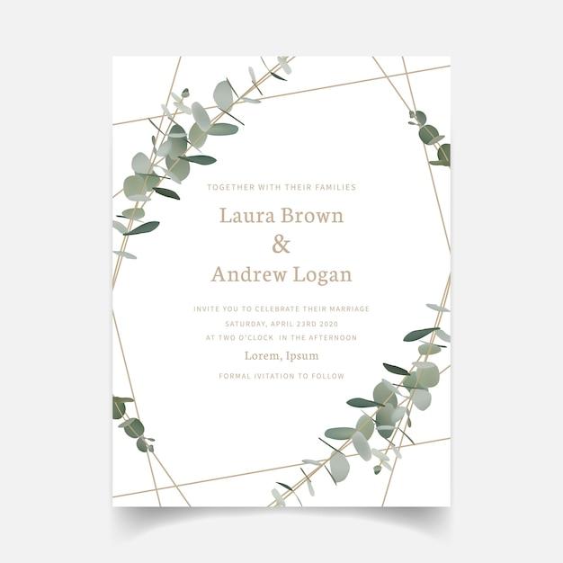 Greenery wedding invitation Premium Vector