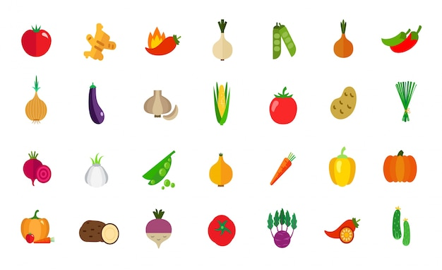 Greengrocery icon set Free Vector