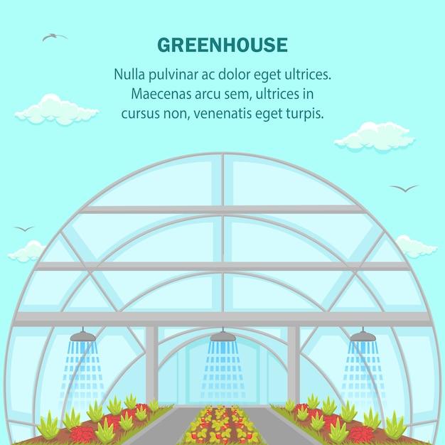 Greenhouse aquaponics system social media banner Premium Vector